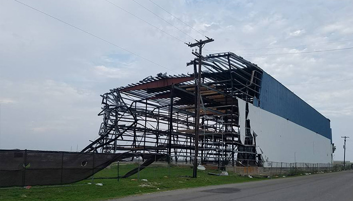 Building destroyed by the storm